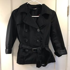 H&M Divided short black pleated peacoat size 4